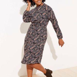 LOFT Plus Garden Ruffle Neck Swing Dress. NWT.